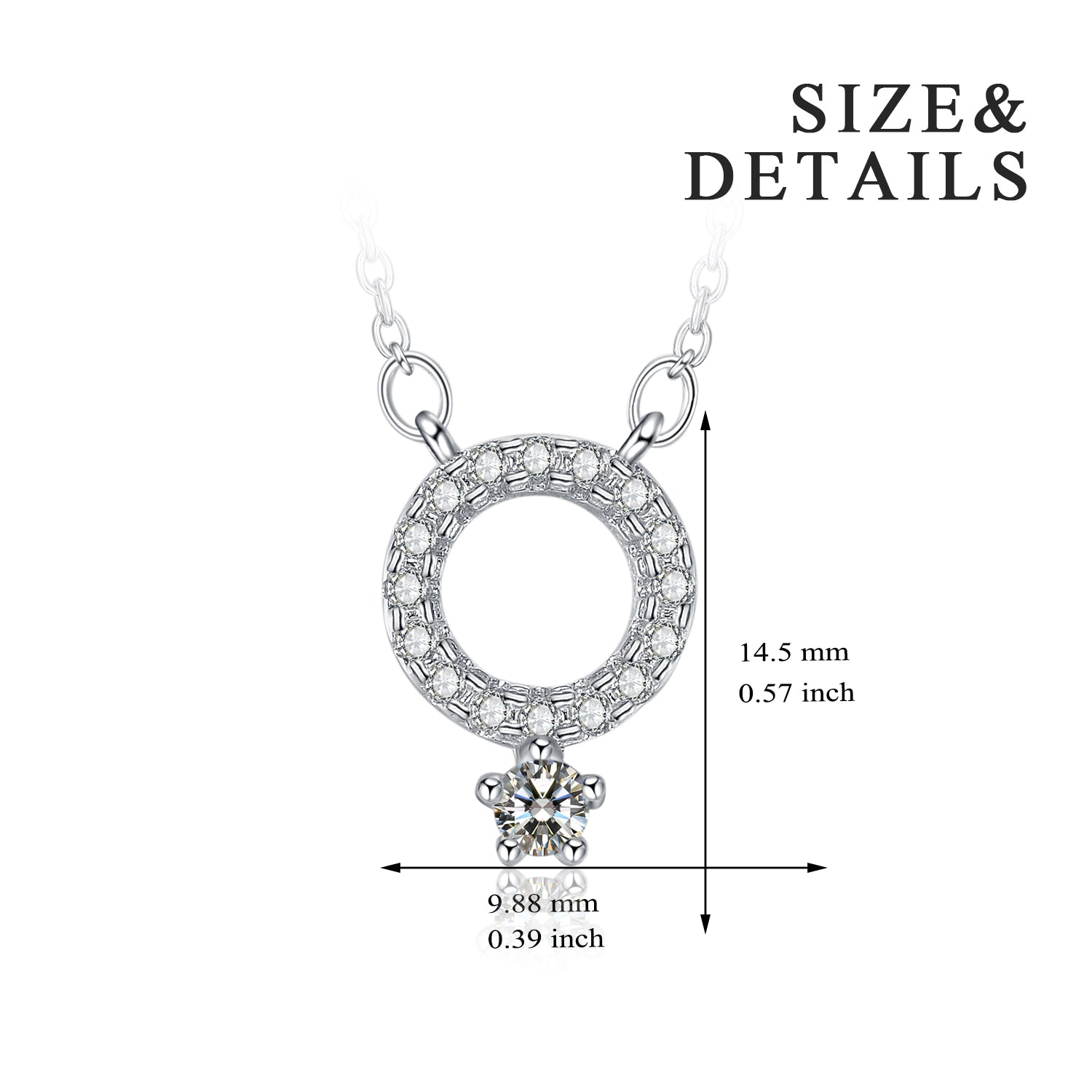 Geometric Cubic Zirconia Necklaces Round Circle And Star Pendant Necklace