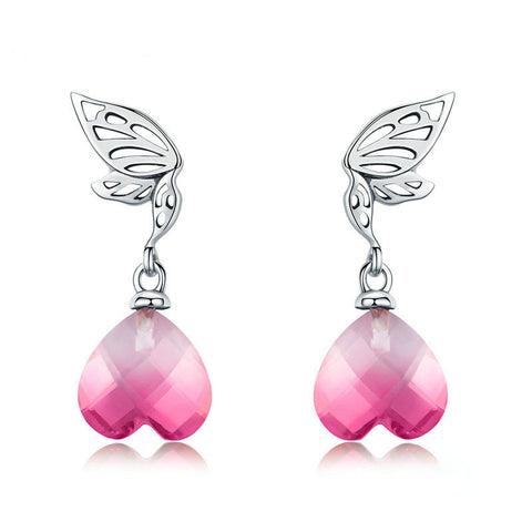 Hope Wings Pink Crystal Heart Drop Earrings