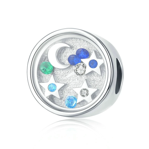 Silver Luminous Moon And Star Round Beads Charms