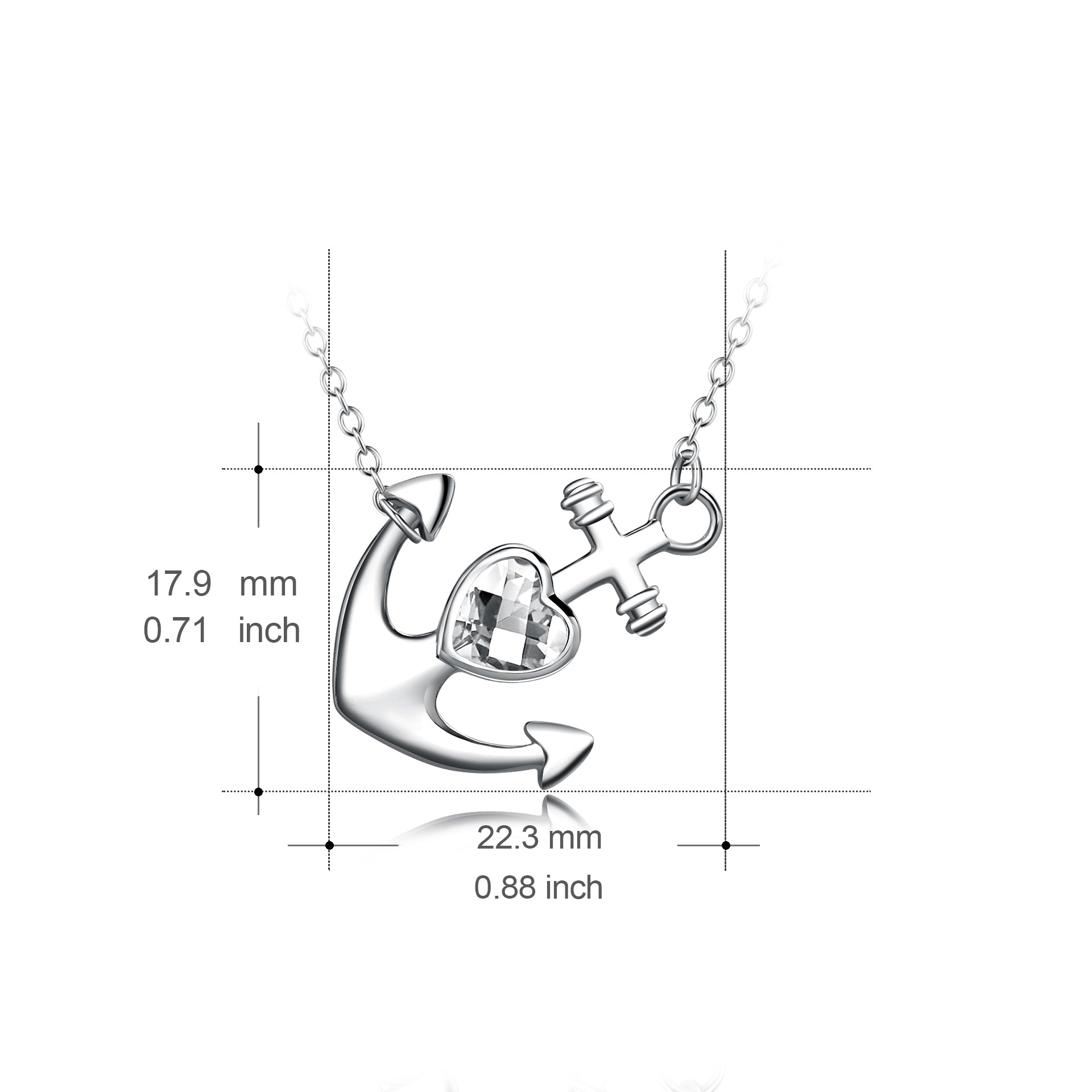 925 Sterling Silver Women Birthday Gift Vintage Pendant Anchor Necklace