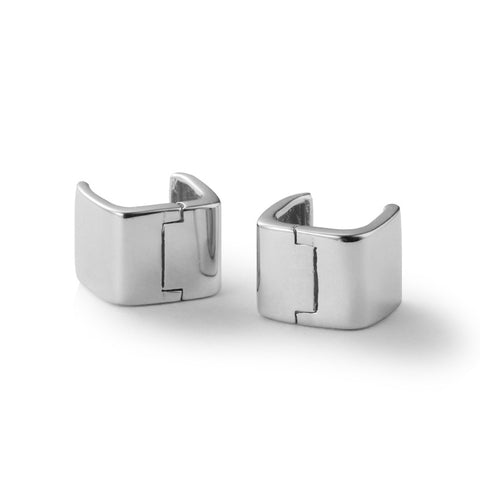 New S925 Square Wide Edition Earrings Simple Polished Earrings