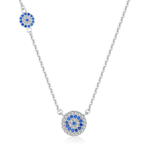 Blue Eye birthstone  Zircon Pendant S925 Sterling Silver Clavicle Chain Necklace