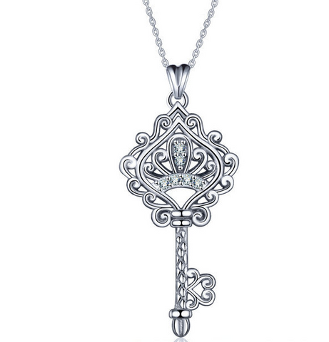 S925 sterling silver crown key zircon necklace pendant Europe and America wild necklace accessories