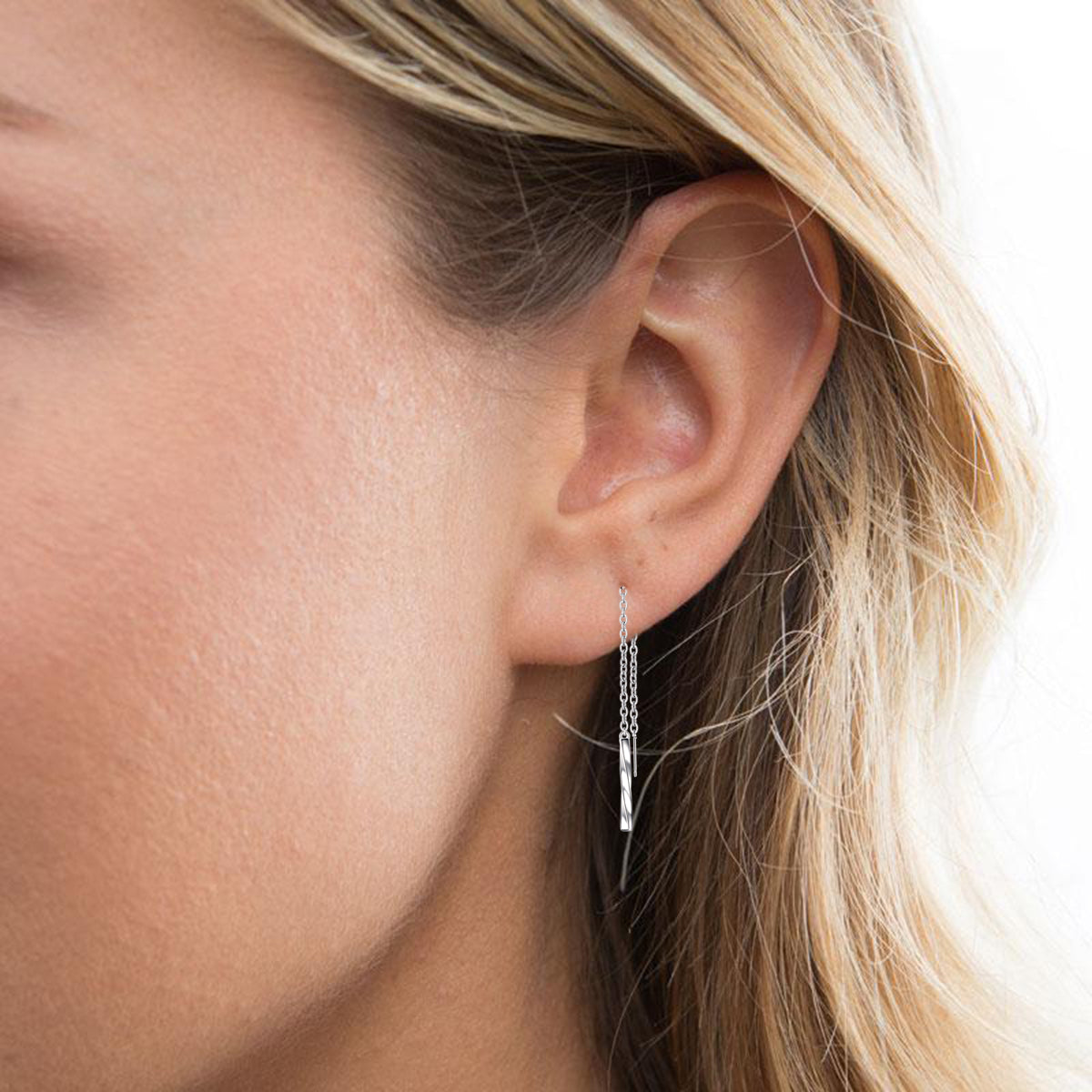 simple Bar Hanging Earrings Long Chain Silver Ear Line Earrings