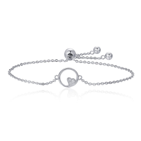 silver white gold plated zircon sweetheart  bracelet