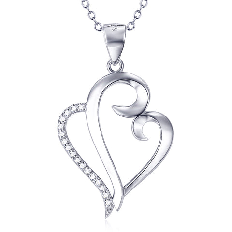 Double Heart Shaped Wholesale 925 Sterling Silver Necklace For Woman