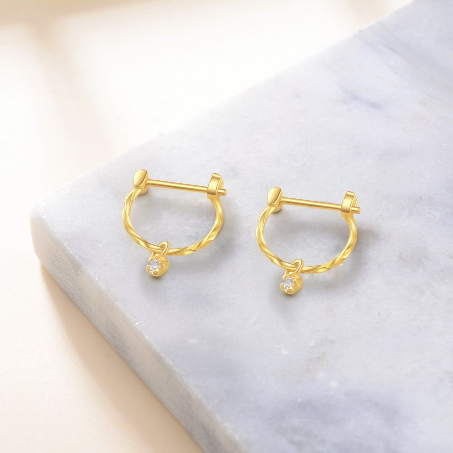 Yellow Gold Color Round Earrings Jewelry Fashion Earrings
