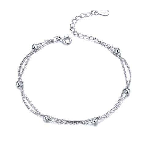 Silver White Gold Plated Bead Bracelet
