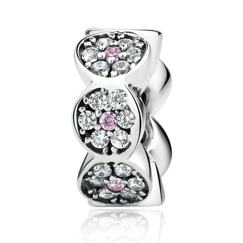 Silver Clearly CZ Pink Silver Spacers Charms