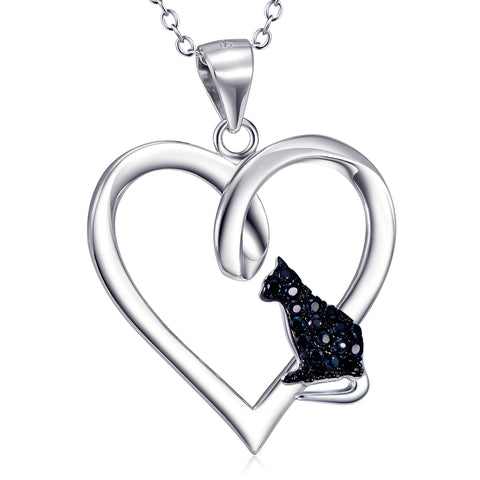 Heart And Black Cat Shaped Necklace Wholesale 925 Sterling Silver Jewelry For Gifts