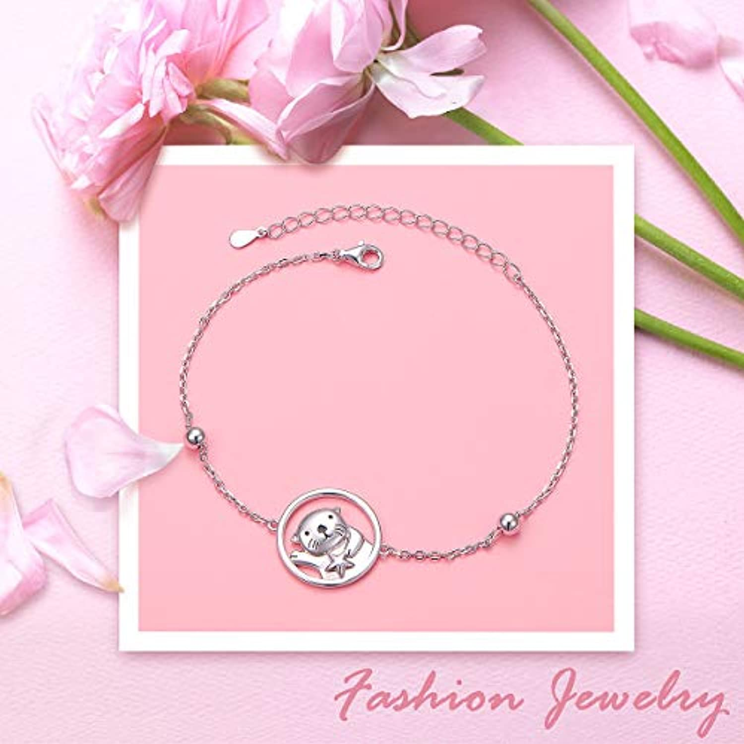 925 Sterling Silver Cute Animal Sea Otter Bracelet for Women Teen Girls Birthday Gifts