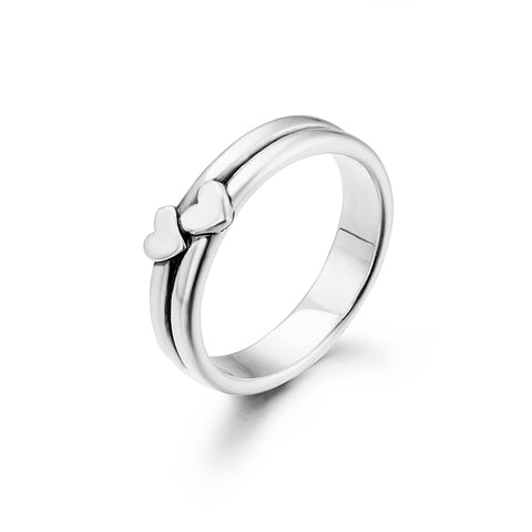 Double Heart Ring Circle Design Silver Women Fashionable Rings