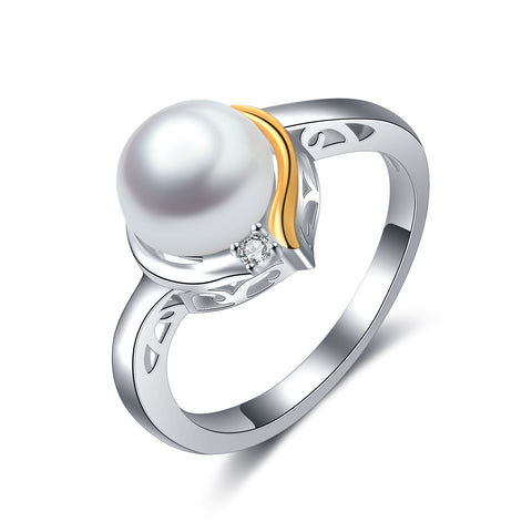 Pearl Wedding Women Rings Fashionable Silver Popular Design Ring