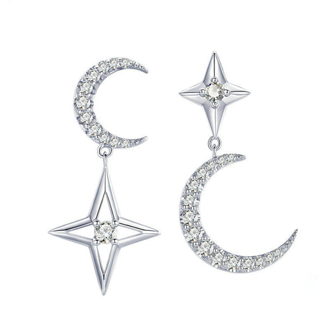 Moon & Star Dangle Earrings