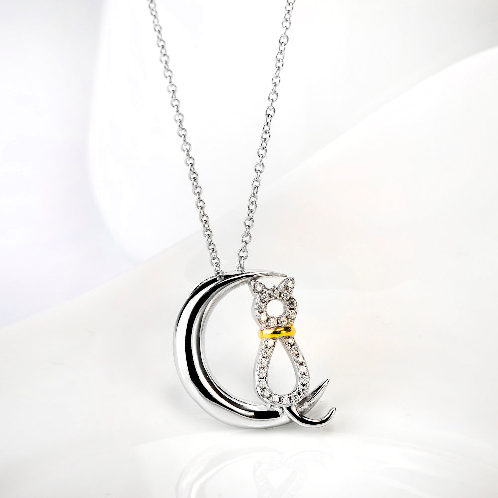 High Quality Cubic Zirconia Cat & Moon Pendant 925 Silver Sterling Necklace