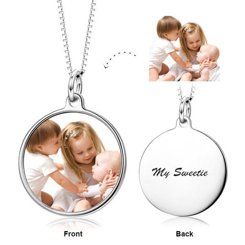 "I Cherish And Adore You - 925 Sterling Silver Color Photo Necklace Adjustable 16""-20"""
