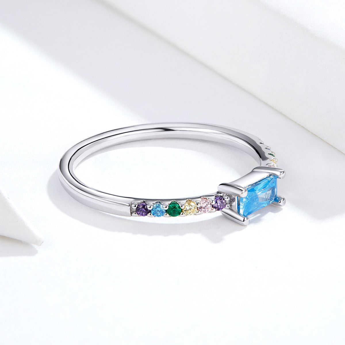 S925 Sterling Silver Meets Rainbow Ring white gold plated cubic zirconia ring