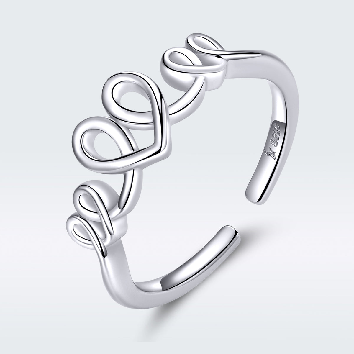 S925 sterling silver affection ring white gold plated winding ring