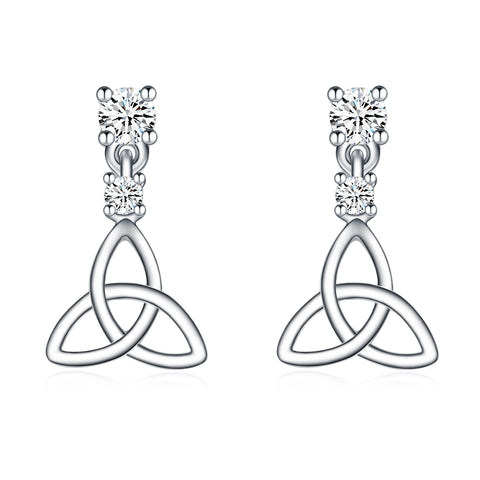 Celtic Knot Earrings Fashion Stud Zirconia Gemstone Silver Design Earrings