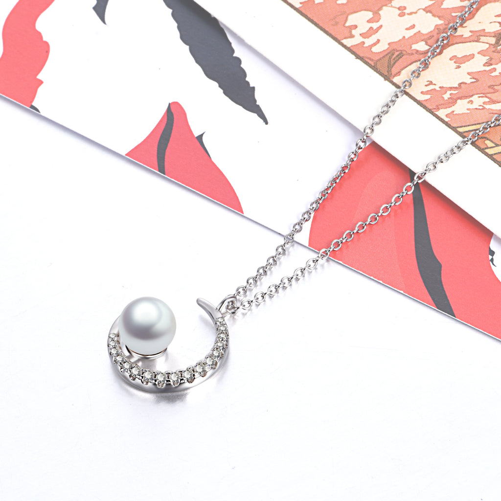 Pearl Moon Necklace Full Cubic Zirconia Moon Silver Women Necklace
