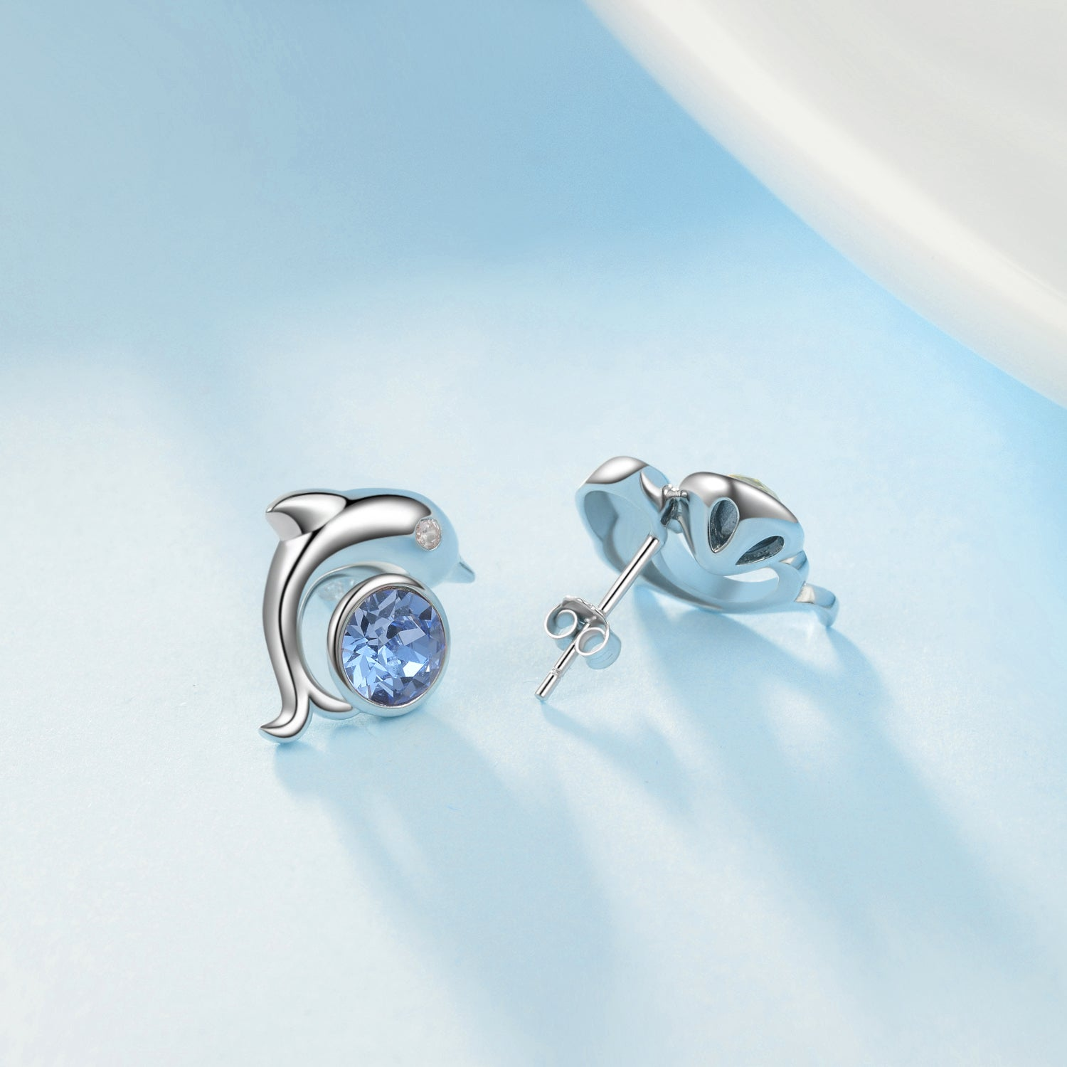Crystal  Dolphin Stud Earrings Animal Mini Jewelry Silver Design Necklace