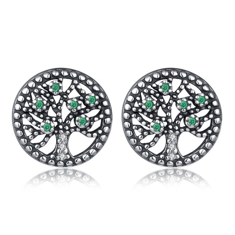 Life Tree Vintage Stud Earrings S925 Sterling Silver Earrings Temperament Wild