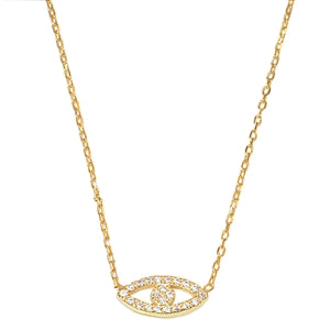 Yellow Gold Plated Evil eye Cubic Zirconia Pendant Necklace
