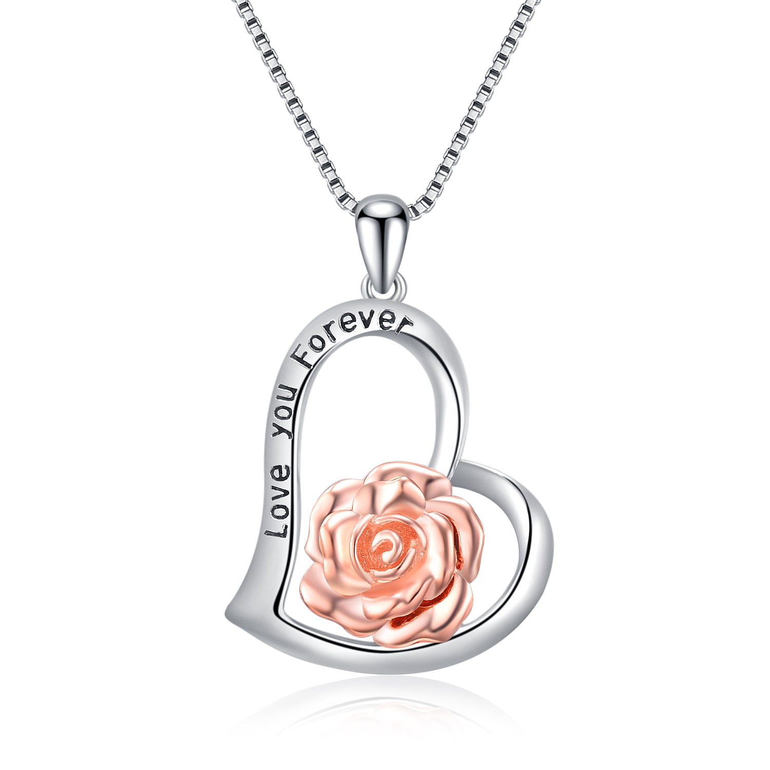 Love You Forever Engraved Necklace Fashion Sweet Mother Silver Necklace