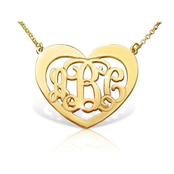 "925 Sterling Silver Personalized Heart Monogram Necklace with Name Adjustable 16""-20"""