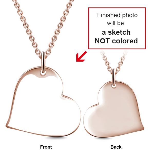 "Personalized 14K Gold Love Heart Kids Engraved Photos Necklaces Adjustable 16""-20"""