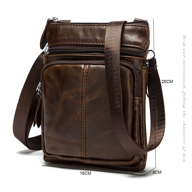 0f196237284d Genuine Leather Brand shoulder bags Designer men Crossbody Bag natural  Cowhide Shoulder Bags Vintage Small square