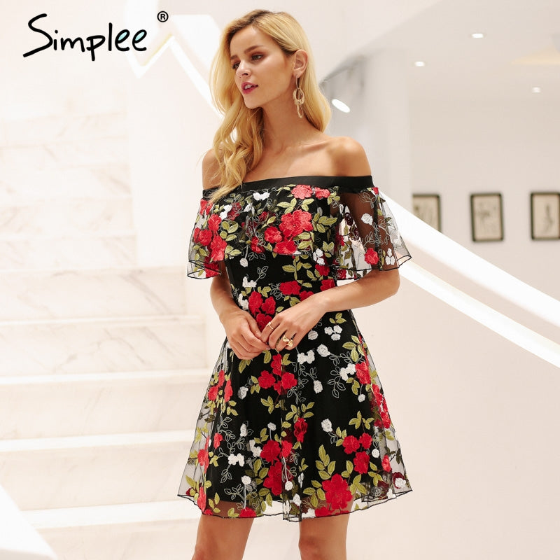 af26356be3 Simplee Sexy off shoulder embroidery lace dress women Ruffle mesh floral summer  dress Backless streetwear casual