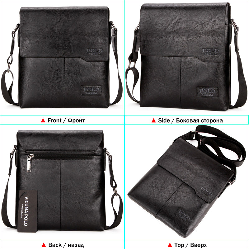 Vicuna Polo Vintage Fashion Mens Leather Bag Brand Casual Business