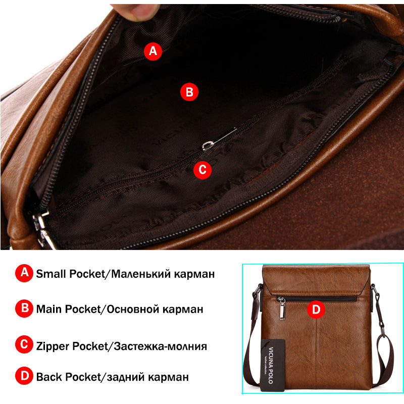 VICUNA POLO Vintage Fashion Mens Leather Bag Brand Casual Business Mens Bag  High Quality New Mens 9617ed8f4d657