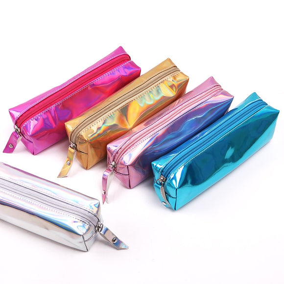 Iridescent Laser Pencil Case Quality PU School Supplies Bts Stationery Gift Pencilcase School Cute Pencil Box Bts School Tools
