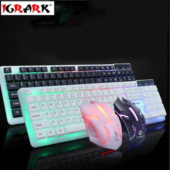 IGRARK 3 color Led Backlight USB Wired Laptop PC Pro Gaming Keyboard Mouse Combo for LOL Dota 2 Gamer Keyboard Mouse Combo
