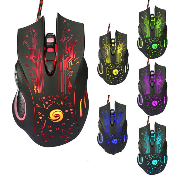 USB Wired Optical Gaming Mouse Adjustable 5 Levels DPI 5500 with 6 Buttons LED Light for Desktop PC Computer Laptop Desktop