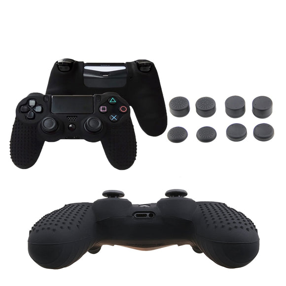 XBERSTAR Anti-slip Silicone Skin  Cover Case for Dualshock 4 Sony  PlayStation4 PS4 PS 4 Pro/ Slim Controller Stick Grip Caps