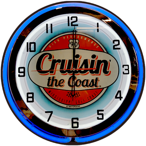 2019 Cruisin' the Coast NEON CLOCK Blue / Red