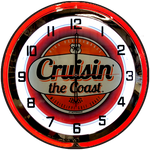 Cruisin' the Coast NEON CLOCK Blue / Red