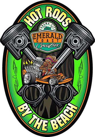 Emerald Coast Cruizin' Hot Rods by the Beach Piston Metal Sign