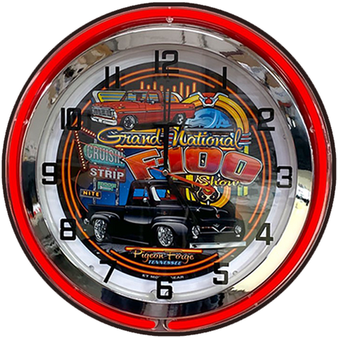 F-100 Supernationals NEON CLOCK Red