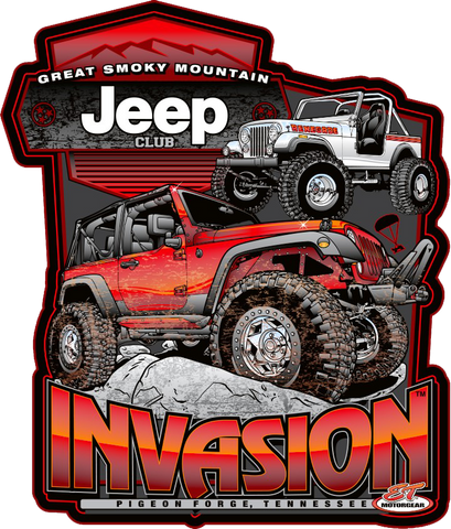 Great Smoky Mountain Jeep Invasion Metal Sign