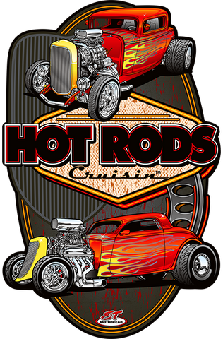 Hot Rods Cruisin Flaming Hot Rods Metal Sign (Made to Order)