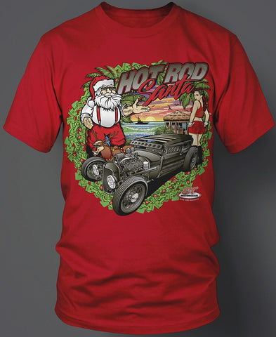 Hot Rod Santa Beach T-Shirt