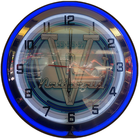 Tri-Five Nationals NEON CLOCK Blue / Red