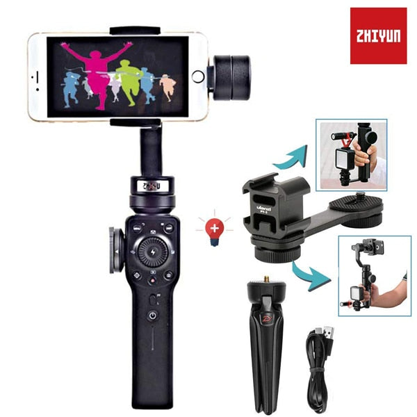new styles a815e 408f4 Zhiyun Smooth 4 3 Axis Gimbal Steadicam Stabilizer for iPhone X 8 Gopro  Hero 5 SJCAM SJ7 Xiaomi Yi 4k action camera