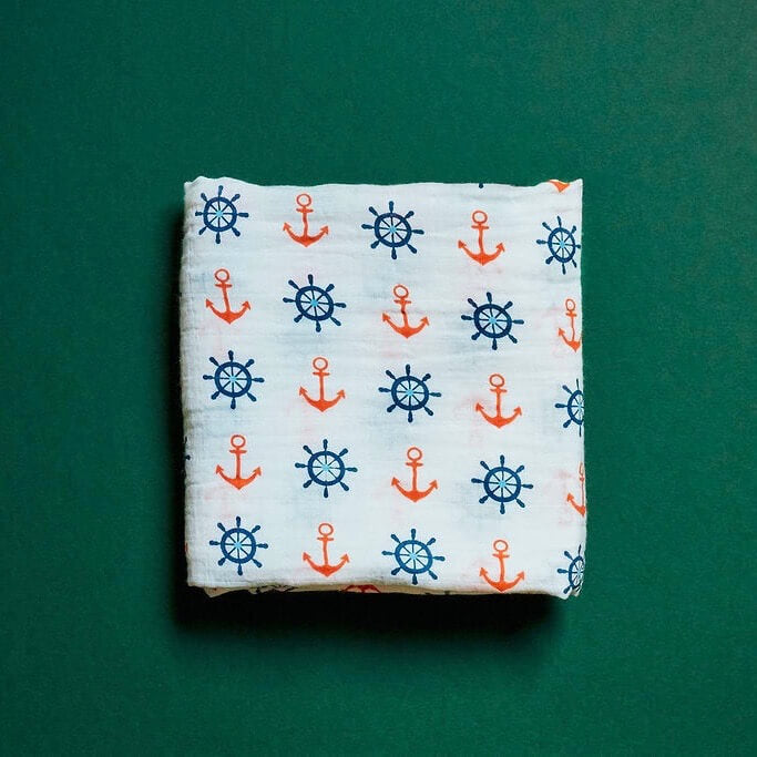 Organic Cotton Muslin Swaddle - Anchor