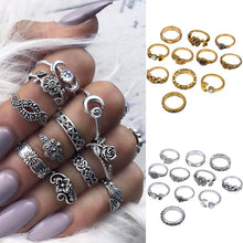 Load image into Gallery viewer, Women Bohemian Vintage Silver Stack Rings