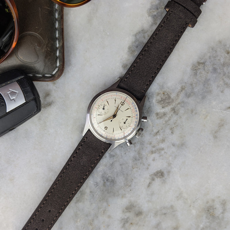 Suede Leather Watch Strap - Dark Brown - GS&W